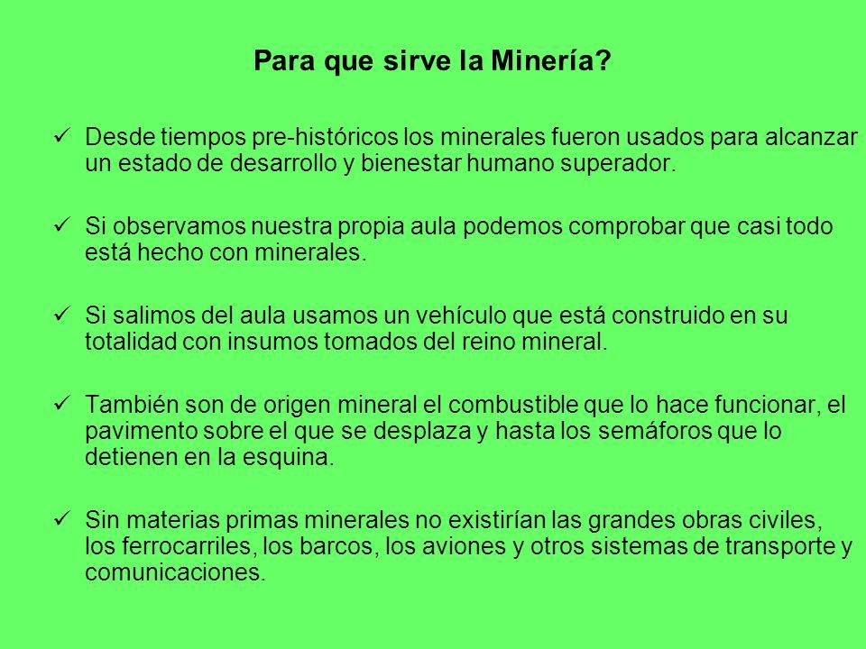 Para que sirve la Minería? Desde tiempos pre-históricos los minerales fueron usados para alcanzar un estado de desarrollo y bienestar humano superador