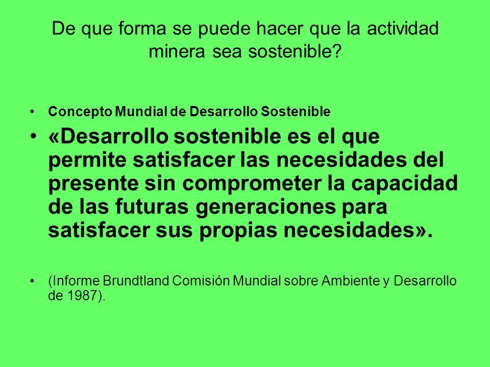 Consideraciones para una minería sostenible: Marco Legal adecuado.