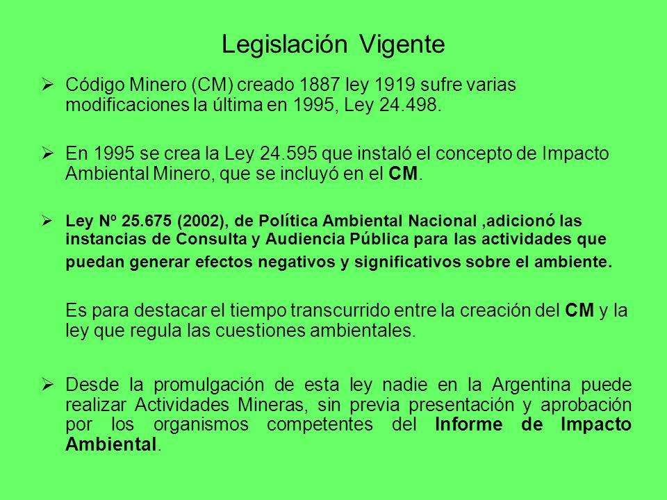 Legislación Vigente Código Minero (CM) creado 1887 ley 1919 sufre varias modificaciones la última en 1995, Ley 24.498. En 1995 se crea la Ley 24.595 q