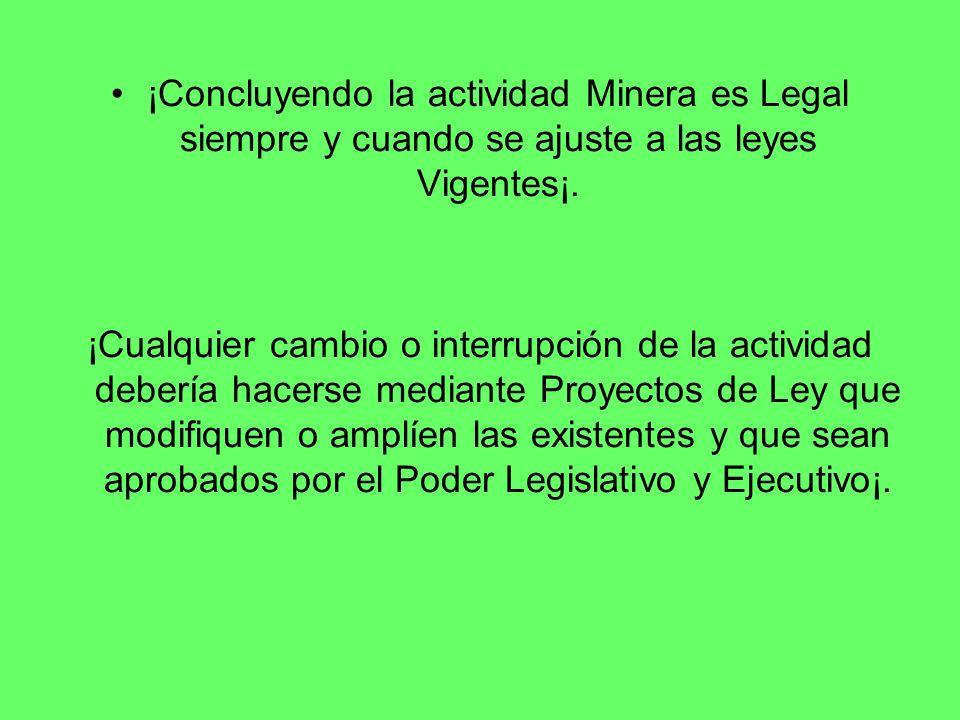¡Concluyendo la actividad Minera es Legal siempre y cuando se ajuste a las leyes Vigentes¡. ¡Cualquier cambio o interrupción de la actividad debería h