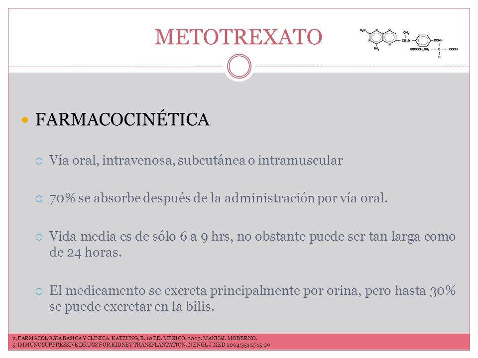 METOTREXATO MARCAS COMERCIALES Ledertrexate (VO) Atrexel (VO) Otaxem (VO) Medsatrexate (IV) Texate (VO,IM e IV) Trixilem (VO, IM, IV) INDICACIONES Artritis reumatoide Artritis psoriasica Espondilitis anquilosante Dermatomiositis Granulomatosi de Wegener Artritis Células gigantes LES Vasculitis 2.