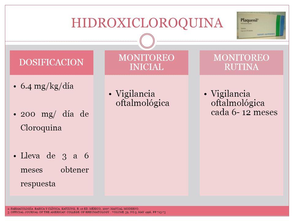 HIDROXICLOROQUINA INDICACIONES Manifestaciones cutáneas Serositis Dolor articular en pacientes con LES y Sx Sjögren EECTOS SECUNDARIOS Retinitis pigmentaria, por maculopatía perdida visual Naúsea.