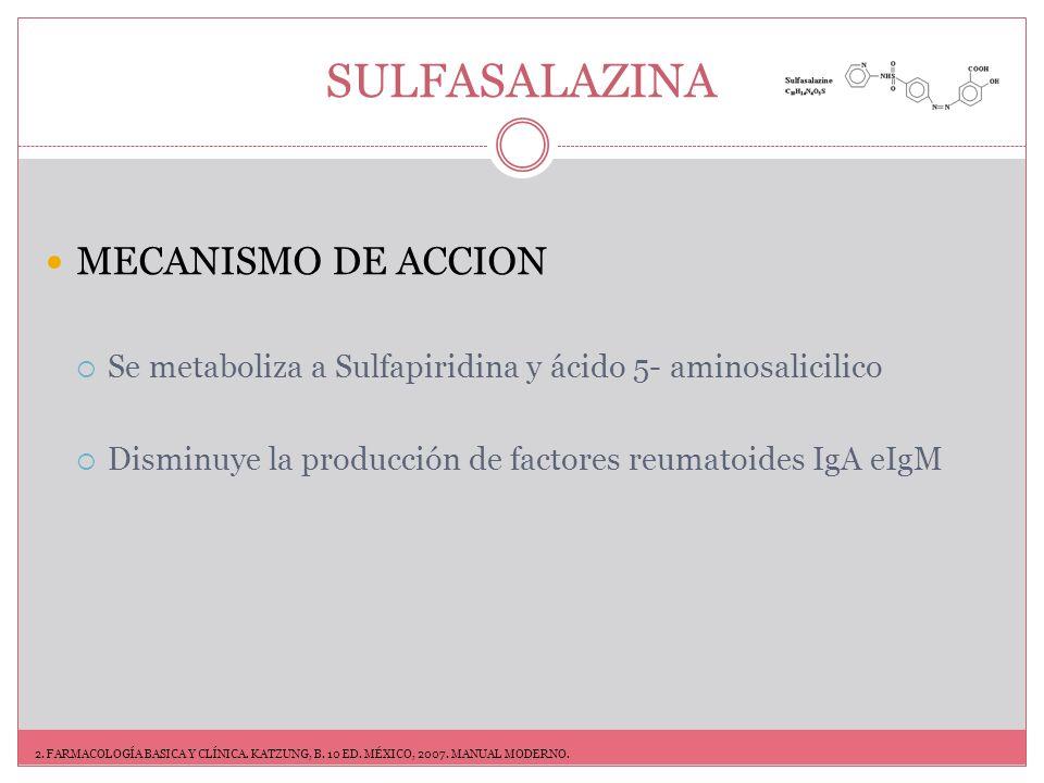 SULFASALAZINA DOSIFICACION AR reduce el índice de nuevas lesiones óseas.