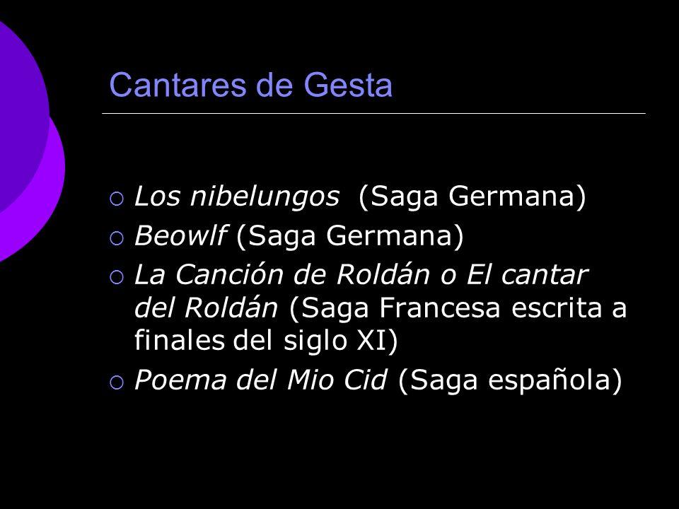 Principales ejemplos CANTARES DE GESTA