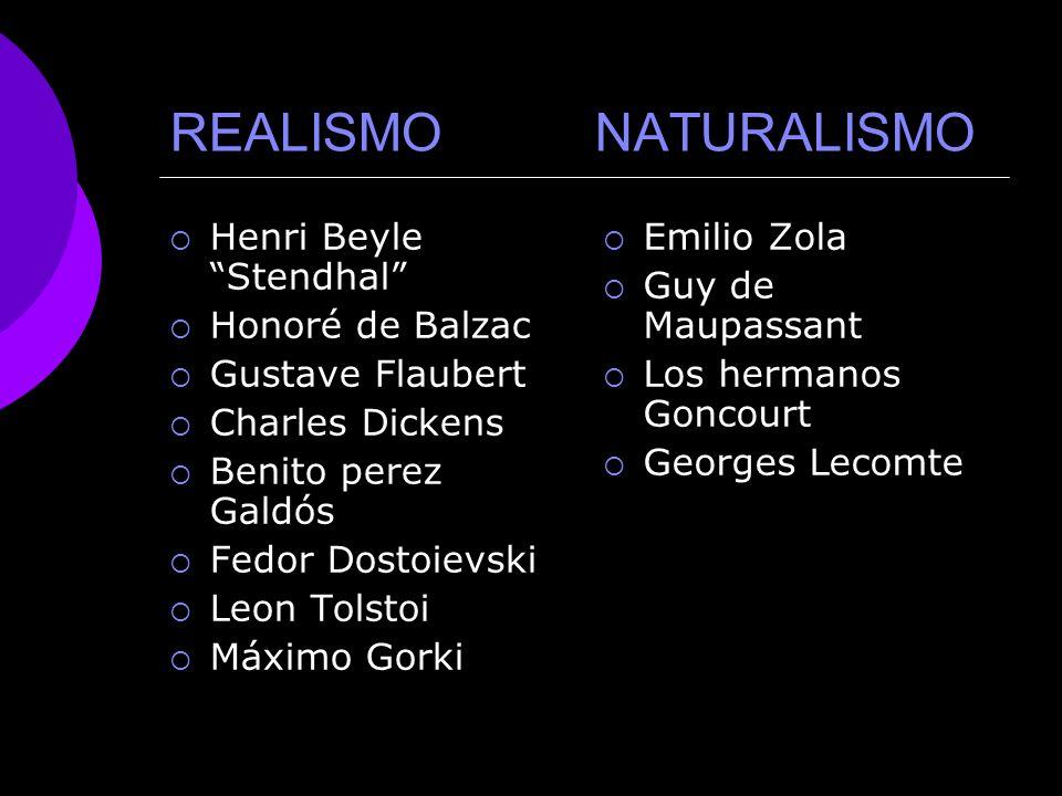 REALISMO Y NATURALISMO PRINCIPALES AUTORES