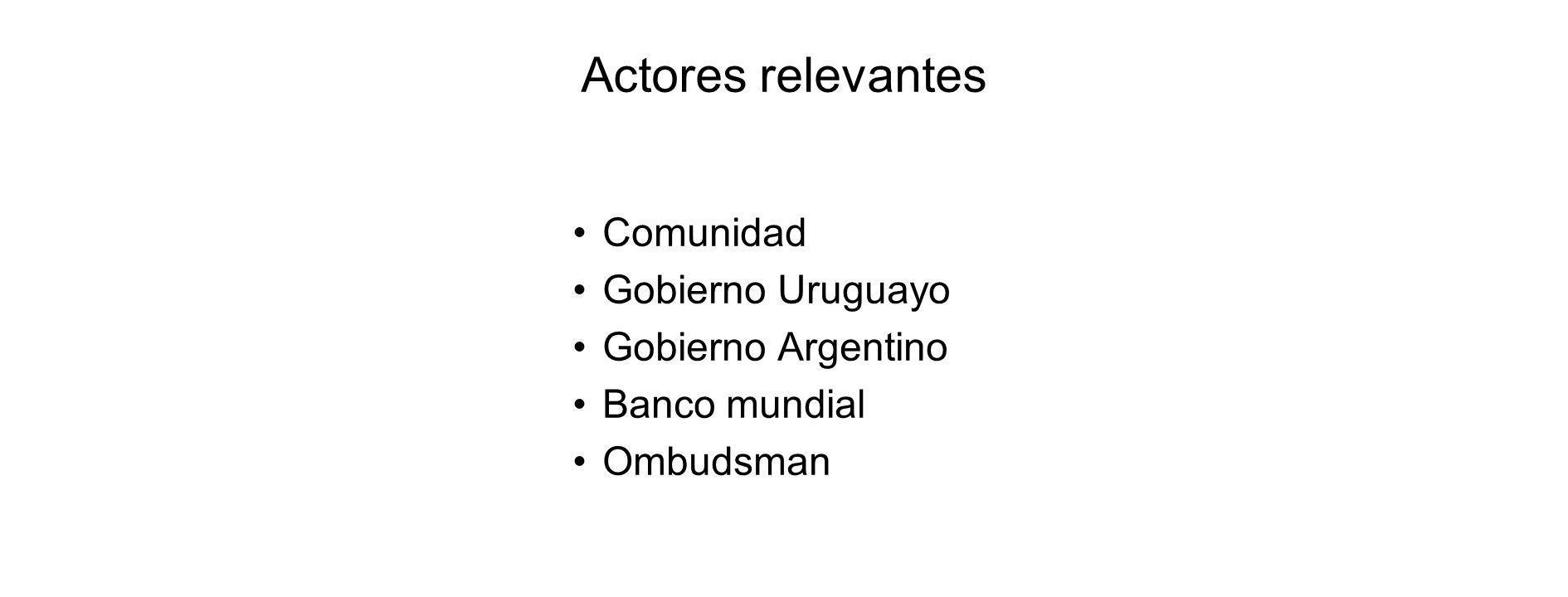 Actores relevantes Comunidad Gobierno Uruguayo Gobierno Argentino Banco mundial Ombudsman