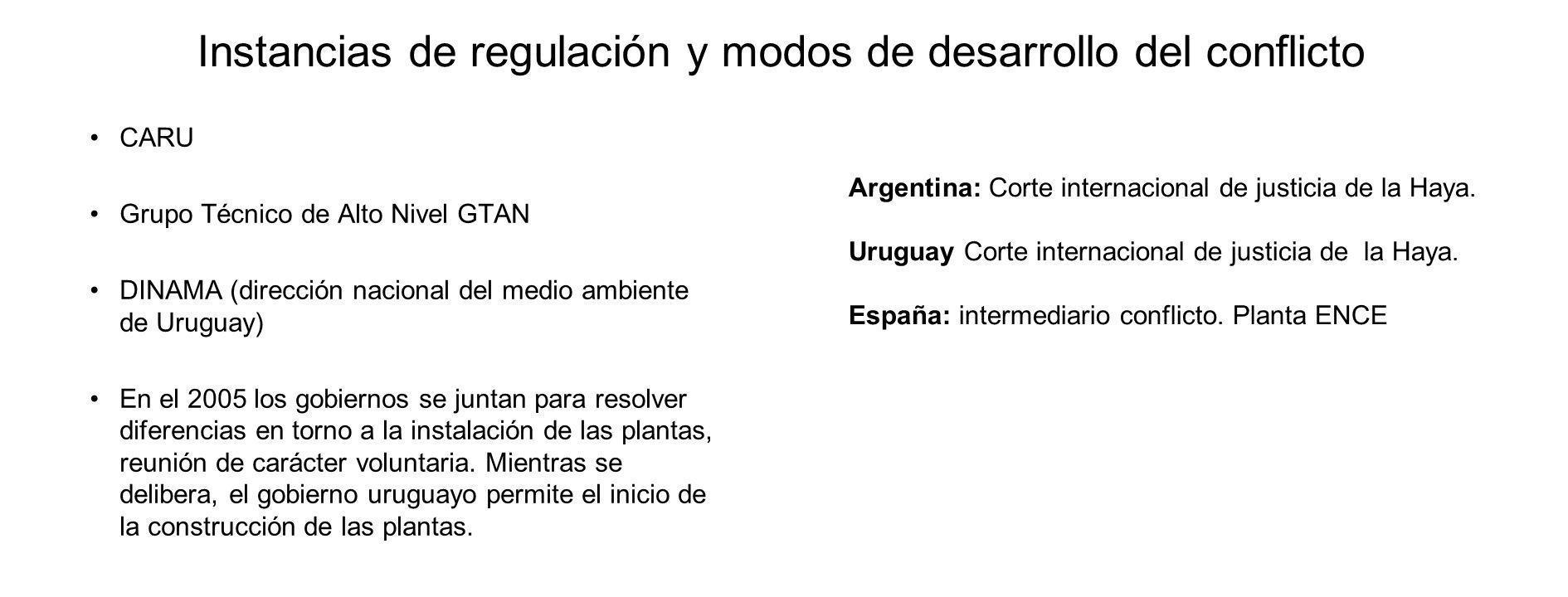 Instancias de regulación y modos de desarrollo del conflicto CARU Grupo Técnico de Alto Nivel GTAN DINAMA (dirección nacional del medio ambiente de Uruguay) En el 2005 los gobiernos se juntan para resolver diferencias en torno a la instalación de las plantas, reunión de carácter voluntaria.