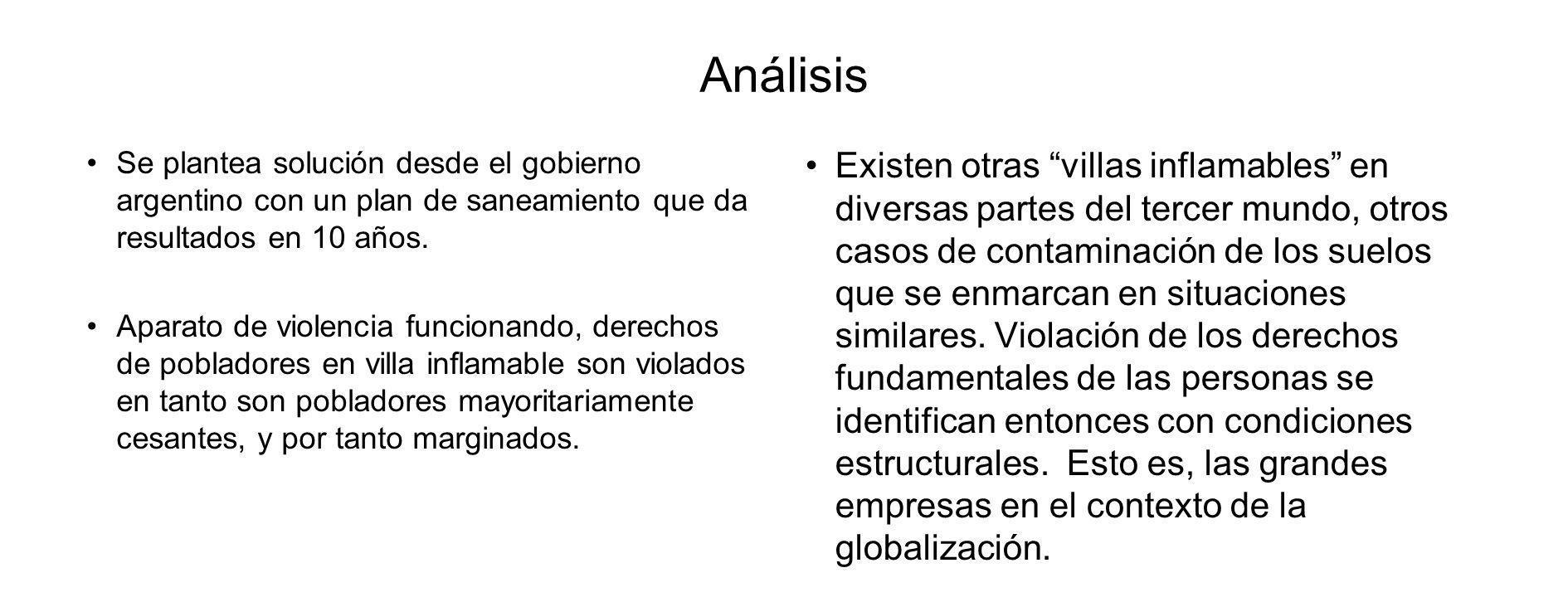 Análisis Se plantea solución desde el gobierno argentino con un plan de saneamiento que da resultados en 10 años.