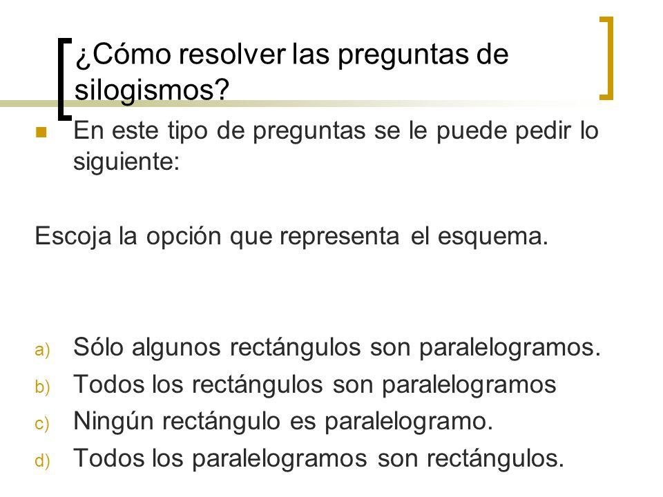 ¿Cómo resolver las preguntas de silogismos? En este tipo de preguntas se le puede pedir lo siguiente: Escoja la opción que representa el esquema. a) S