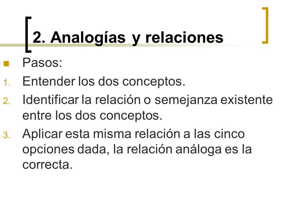 2. Analogías y relaciones Pasos: 1. Entender los dos conceptos. 2. Identificar la relación o semejanza existente entre los dos conceptos. 3. Aplicar e