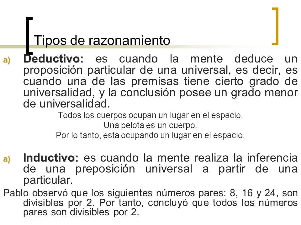 Tipos de razonamiento a) Deductivo: a) Deductivo: es cuando la mente deduce un proposición particular de una universal, es decir, es cuando una de las