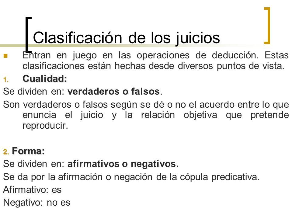 Clasificación de los juicios Entran en juego en las operaciones de deducción. Estas clasificaciones están hechas desde diversos puntos de vista. 1. Cu