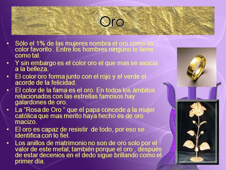 Sólo el 1% de las mujeres nombra el oro como su color favorito. Entre los hombres ninguno lo tiene como tal. Y sin embargo es el color oro el que mas