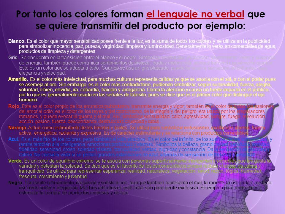 Por tanto los colores forman el lenguaje no verbal que se quiere transmitir del producto por ejemplo: Blanco. Es el color que mayor sensibilidad posee