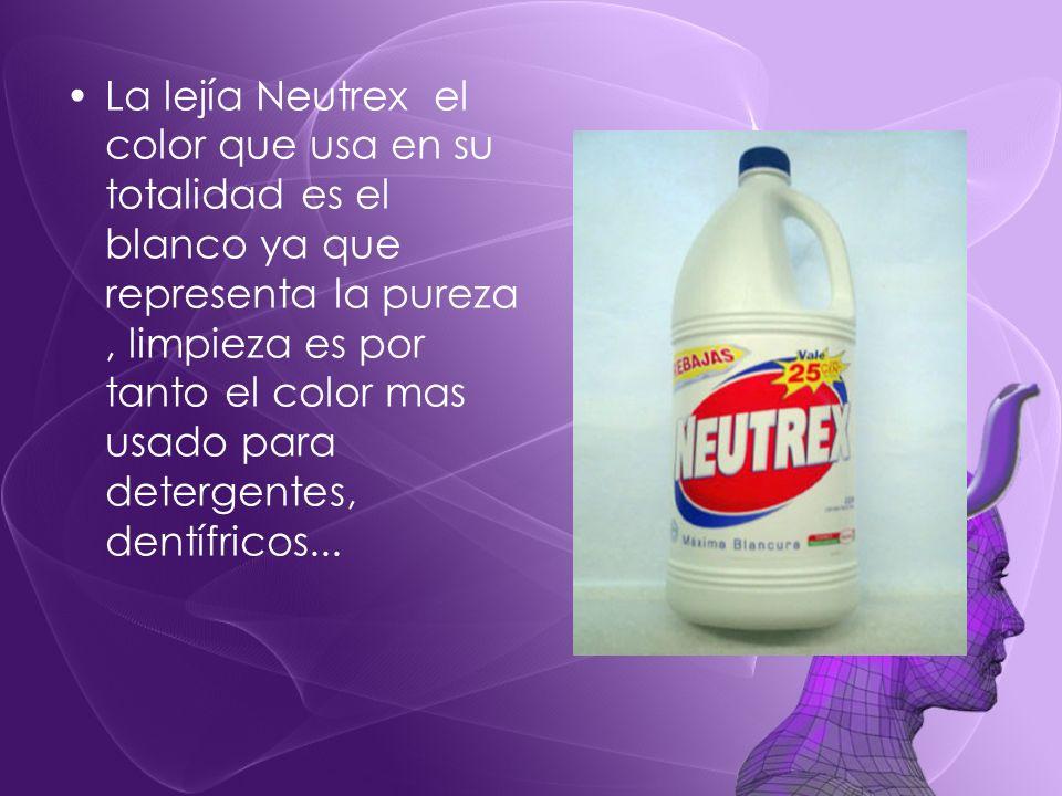 La lejía Neutrex el color que usa en su totalidad es el blanco ya que representa la pureza, limpieza es por tanto el color mas usado para detergentes,