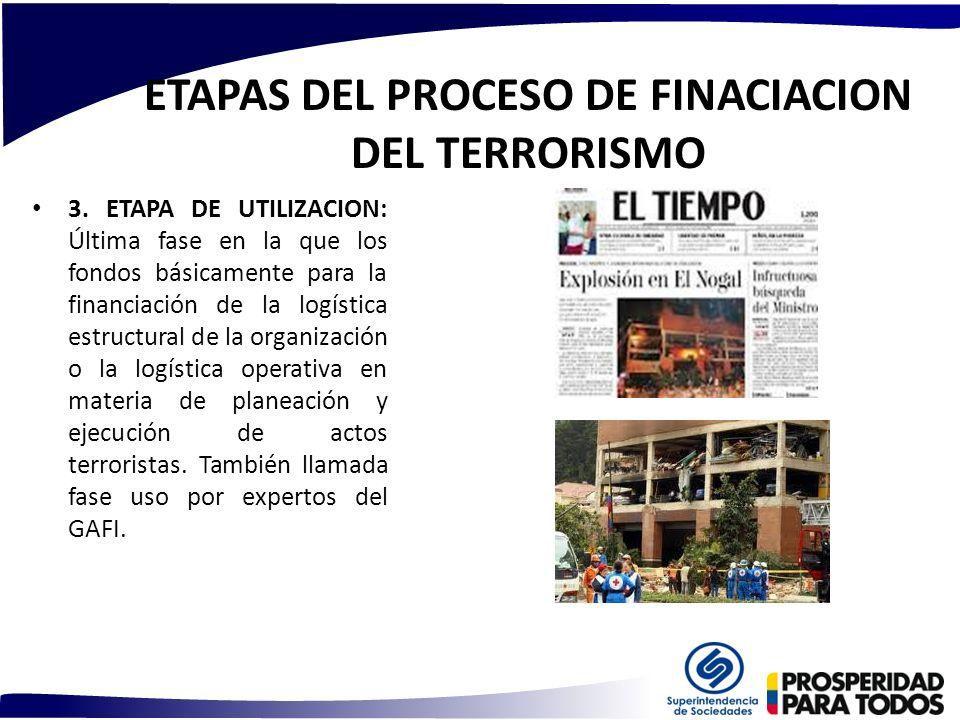 ETAPAS DEL PROCESO DE FINACIACION DEL TERRORISMO 3. ETAPA DE UTILIZACION: Última fase en la que los fondos básicamente para la financiación de la logí