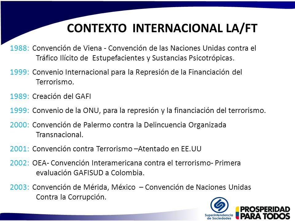 CONTEXTO INTERNACIONAL LA/FT 1988: Convención de Viena - Convención de las Naciones Unidas contra el Tráfico Ilícito de Estupefacientes y Sustancias P