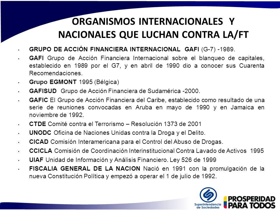 ORGANISMOS INTERNACIONALES Y NACIONALES QUE LUCHAN CONTRA LA/FT GRUPO DE ACCIÓN FINANCIERA INTERNACIONAL GAFI (G-7) -1989. GAFI Grupo de Acción Financ