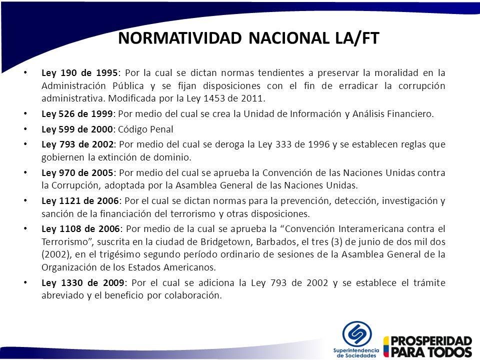 NORMATIVIDAD NACIONAL LA/FT Ley 190 de 1995: Por la cual se dictan normas tendientes a preservar la moralidad en la Administración Pública y se fijan