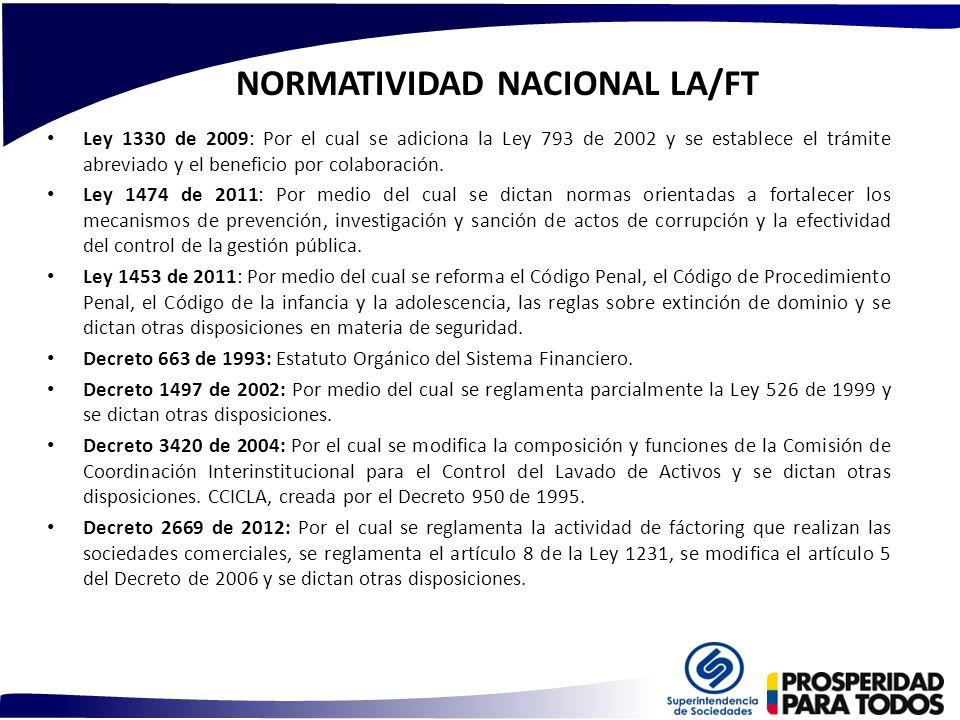 NORMATIVIDAD NACIONAL LA/FT Ley 1330 de 2009: Por el cual se adiciona la Ley 793 de 2002 y se establece el trámite abreviado y el beneficio por colabo