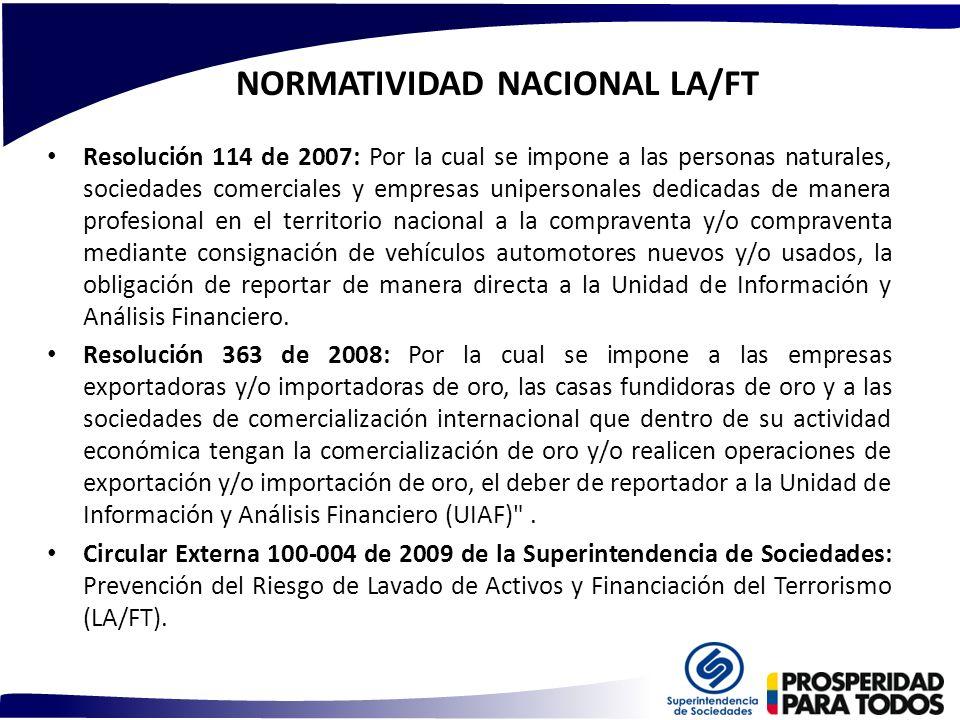 NORMATIVIDAD NACIONAL LA/FT Resolución 114 de 2007: Por la cual se impone a las personas naturales, sociedades comerciales y empresas unipersonales de