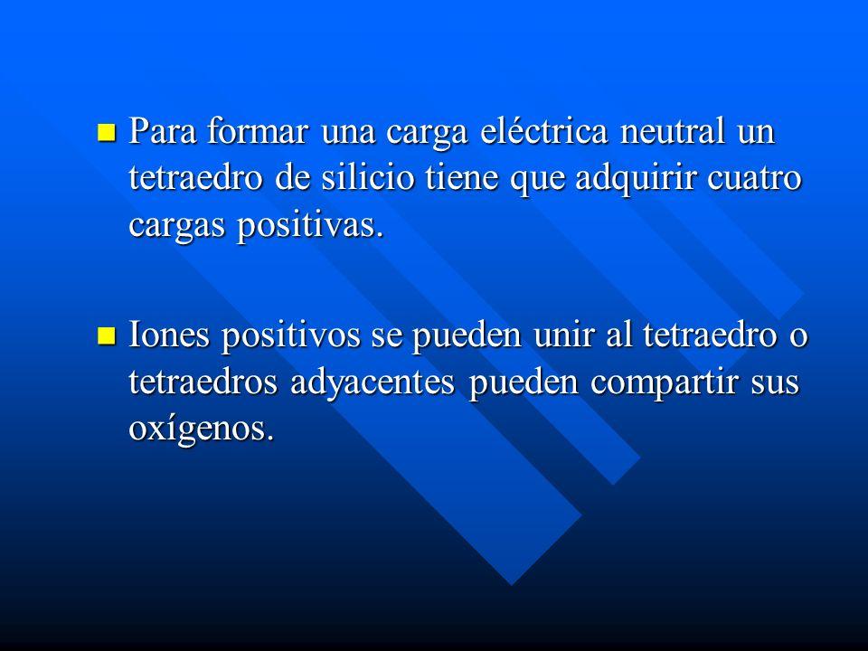 Para formar una carga eléctrica neutral un tetraedro de silicio tiene que adquirir cuatro cargas positivas. Para formar una carga eléctrica neutral un