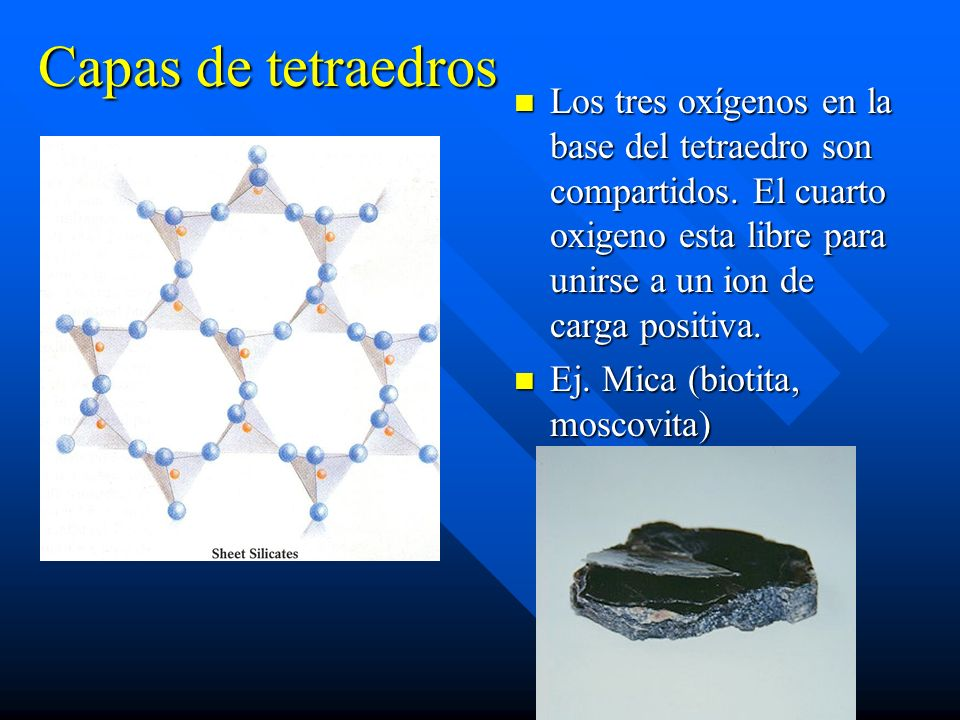 Capas de tetraedros Los tres oxígenos en la base del tetraedro son compartidos. El cuarto oxigeno esta libre para unirse a un ion de carga positiva. E