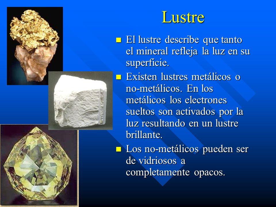 Lustre El lustre describe que tanto el mineral refleja la luz en su superficie. Existen lustres metálicos o no-metálicos. En los metálicos los electro