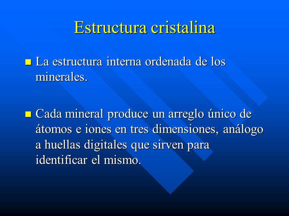Estructura cristalina La estructura interna ordenada de los minerales. La estructura interna ordenada de los minerales. Cada mineral produce un arregl