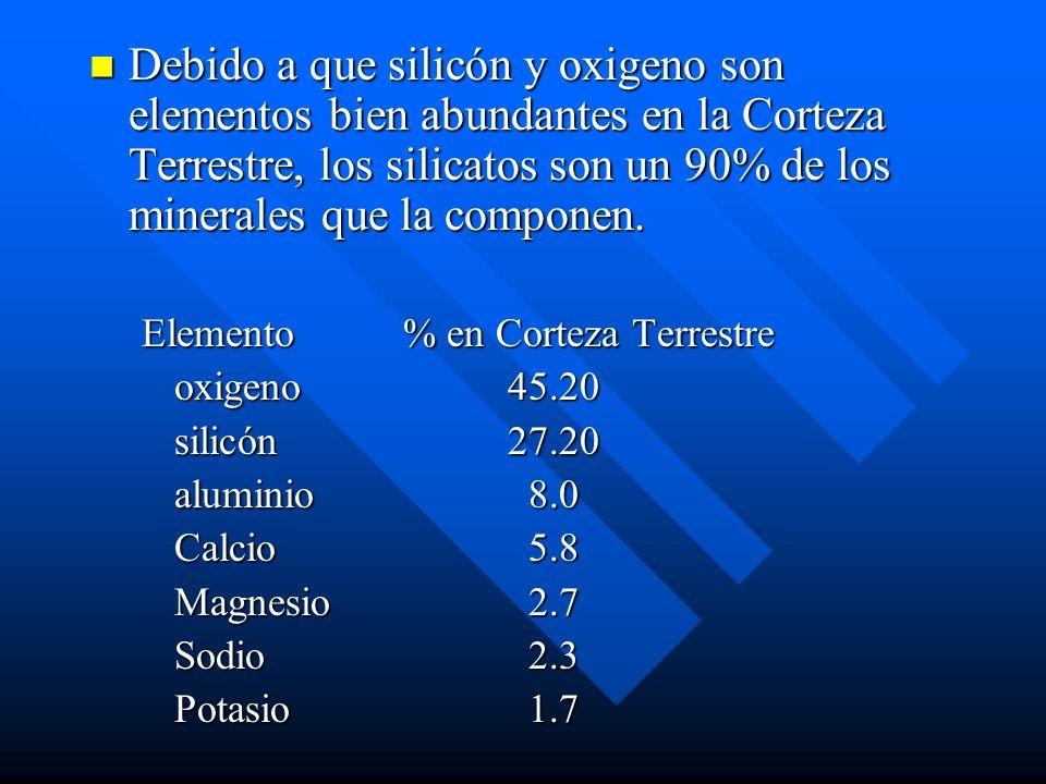 Debido a que silicón y oxigeno son elementos bien abundantes en la Corteza Terrestre, los silicatos son un 90% de los minerales que la componen. Debid