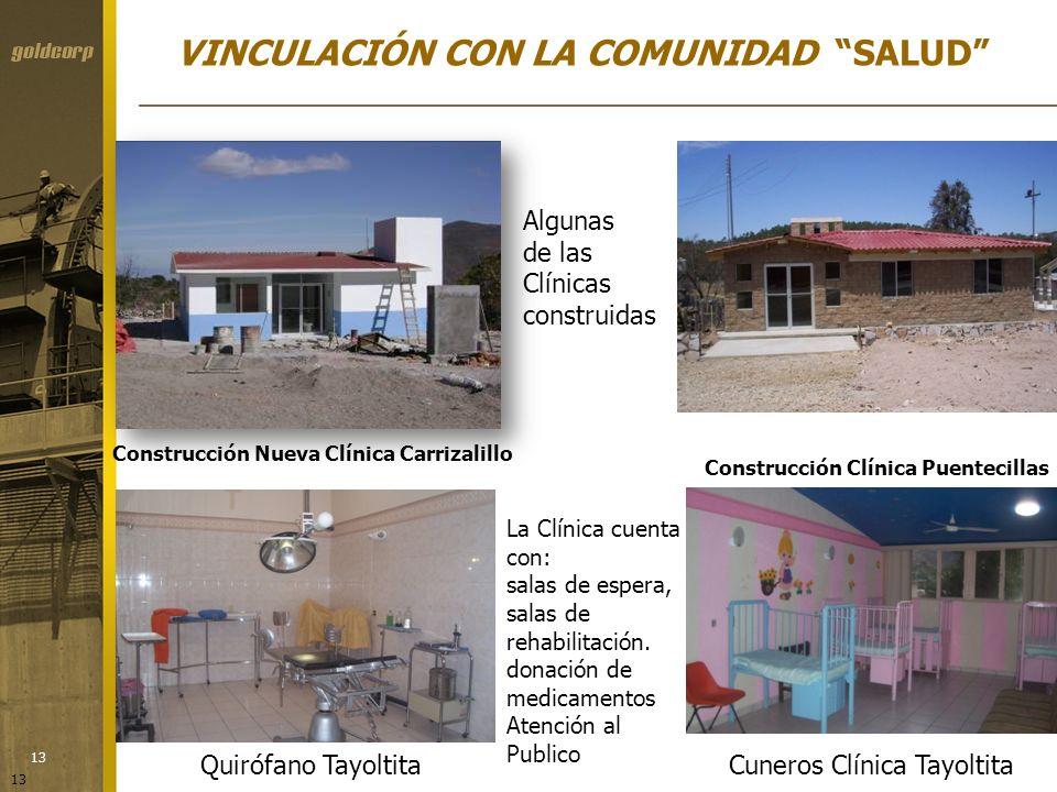 13 Construcción Nueva Clínica Carrizalillo Construcción Clínica Puentecillas La Clínica cuenta con: salas de espera, salas de rehabilitación. donación