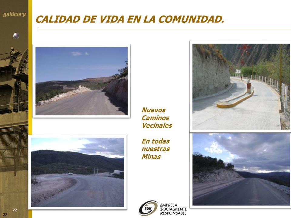 22 Nuevos Caminos Vecinales En todas nuestras Minas CALIDAD DE VIDA EN LA COMUNIDAD.