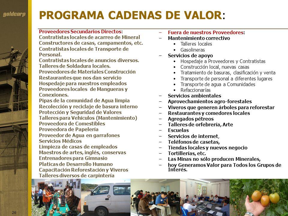 PROGRAMA CADENAS DE VALOR: 26 Proveedores Secundarios Directos: Contratistas locales de acarreo de Mineral Constructores de casas, campamentos, etc. C