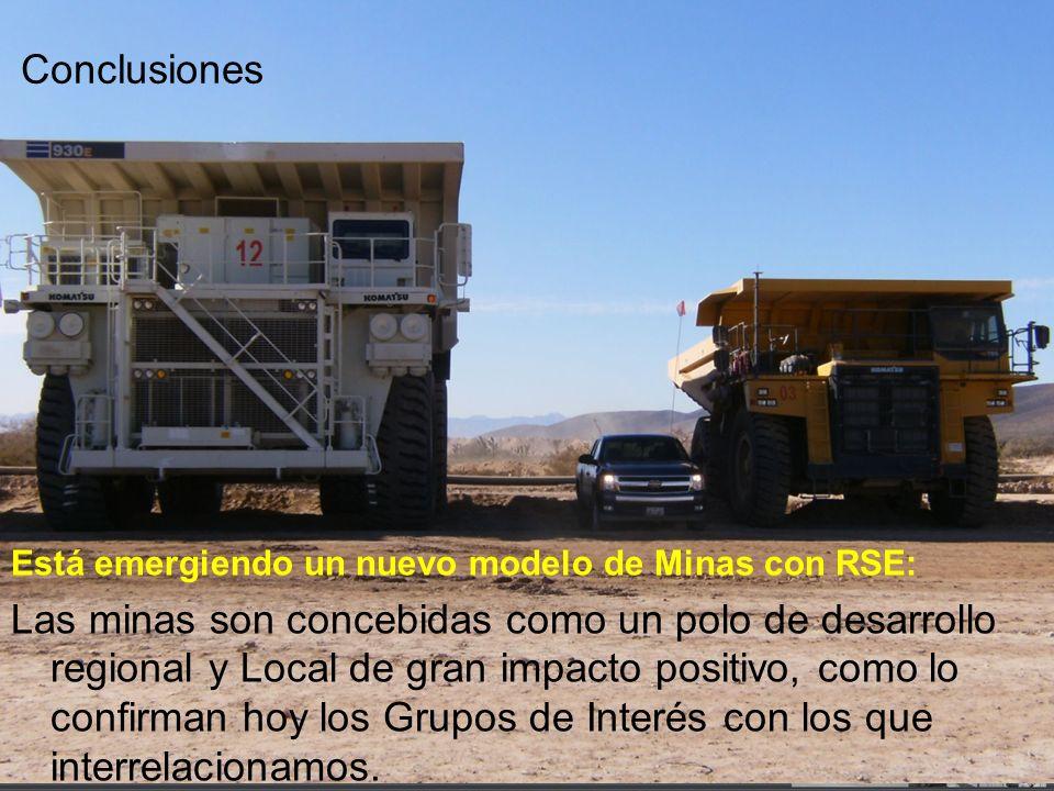 Conclusiones Está emergiendo un nuevo modelo de Minas con RSE: Las minas son concebidas como un polo de desarrollo regional y Local de gran impacto po