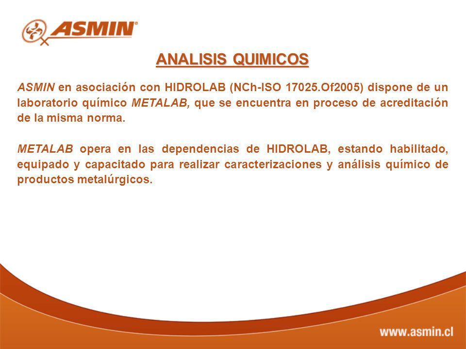 ANALISIS QUIMICOS ASMIN en asociación con HIDROLAB (NCh-ISO 17025.Of2005) dispone de un laboratorio químico METALAB, que se encuentra en proceso de ac