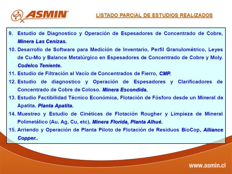 Minera Las Cenizas. 9.Estudio de Diagnostico y Operación de Espesadores de Concentrado de Cobre, Minera Las Cenizas. Codelco Teniente. 10.Desarrollo d