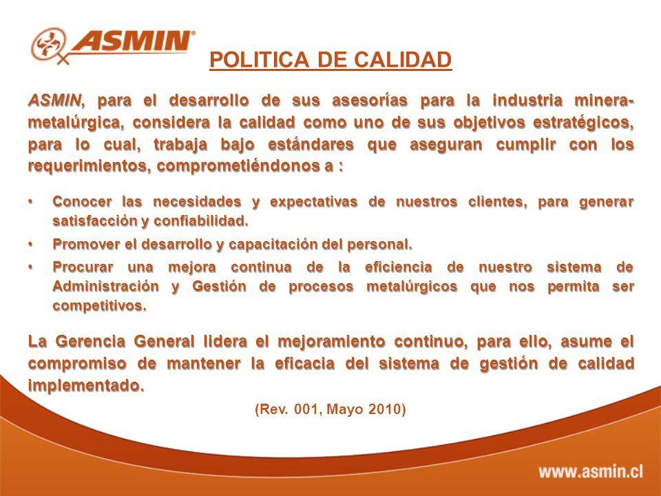 POLITICA DE CALIDAD ASMIN, para el desarrollo de sus asesorías para la industria minera- metalúrgica, considera la calidad como uno de sus objetivos e