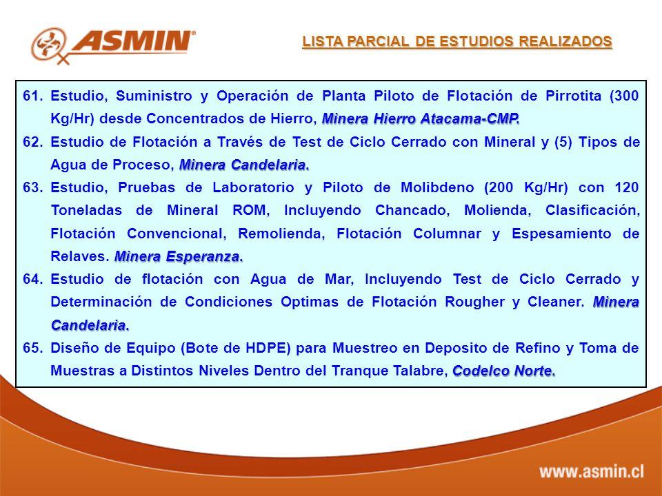 Minera Hierro Atacama-CMP. 61.Estudio, Suministro y Operación de Planta Piloto de Flotación de Pirrotita (300 Kg/Hr) desde Concentrados de Hierro, Min