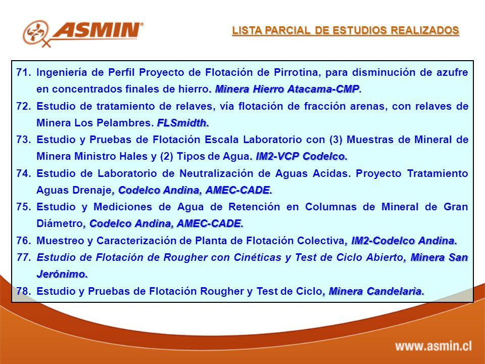 . Minera Hierro Atacama-CMP 71.Ingeniería de Perfil Proyecto de Flotación de Pirrotina, para disminución de azufre en concentrados finales de hierro.