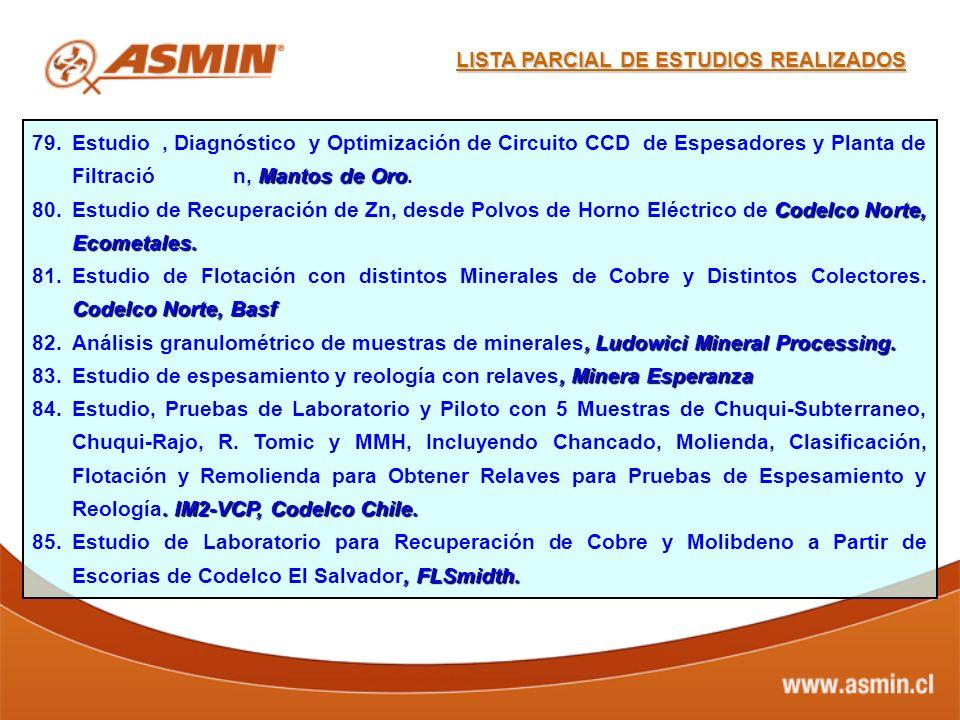 Mantos de Oro 79.Estudio, Diagnóstico y Optimización de Circuito CCD de Espesadores y Planta de Filtració n, Mantos de Oro. Codelco Norte, Ecometales.