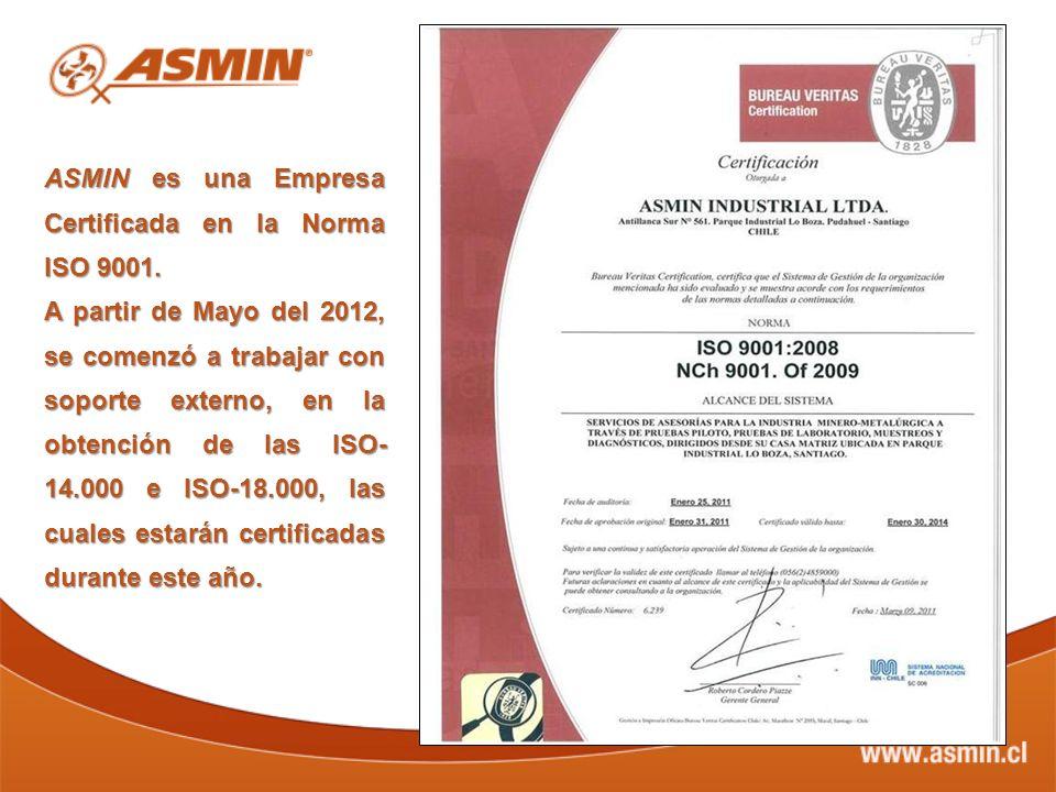 ASMIN es una Empresa Certificada en la Norma ISO 9001. A partir de Mayo del 2012, se comenzó a trabajar con soporte externo, en la obtención de las IS