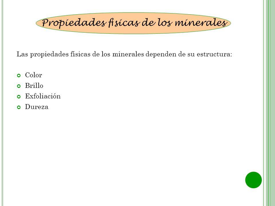 Las propiedades físicas de los minerales dependen de su estructura: Color Brillo Exfoliación Dureza Propiedades f í sicas de los minerales