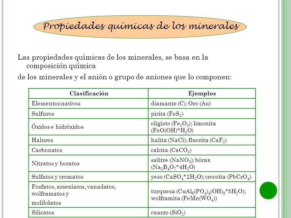 Las propiedades químicas de los minerales, se basa en la composición química de los minerales y el anión o grupo de aniones que lo componen: Propiedad