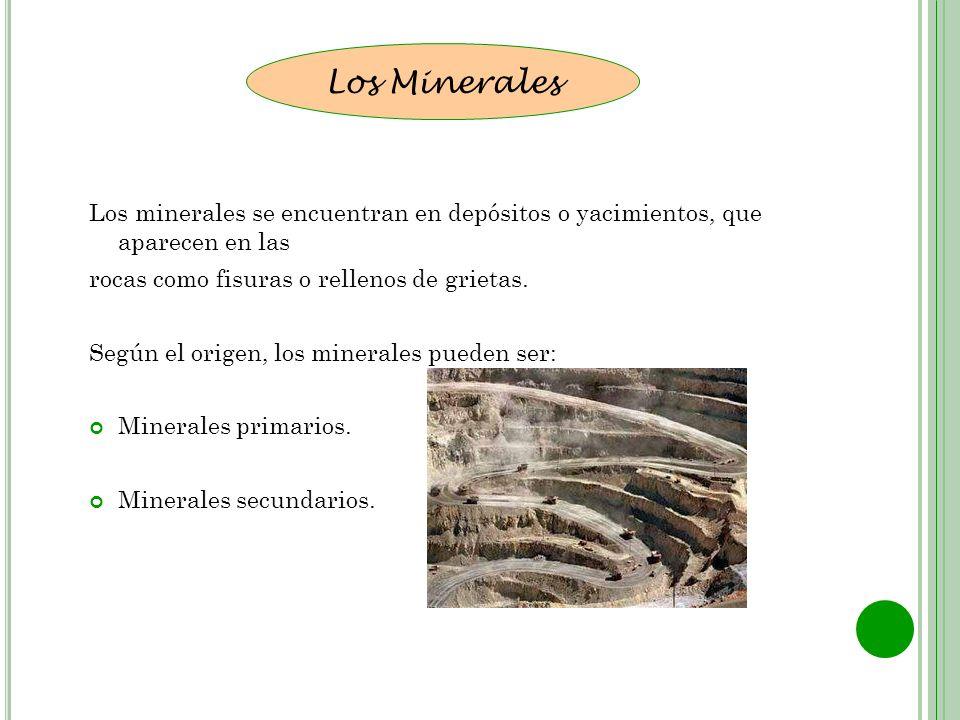 Los minerales se encuentran en depósitos o yacimientos, que aparecen en las rocas como fisuras o rellenos de grietas. Según el origen, los minerales p