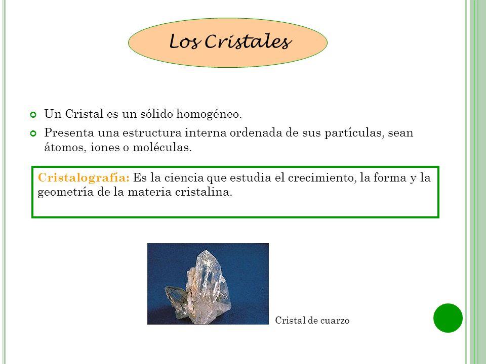 Un Cristal es un sólido homogéneo. Presenta una estructura interna ordenada de sus partículas, sean átomos, iones o moléculas. Los Cristales Cristalog