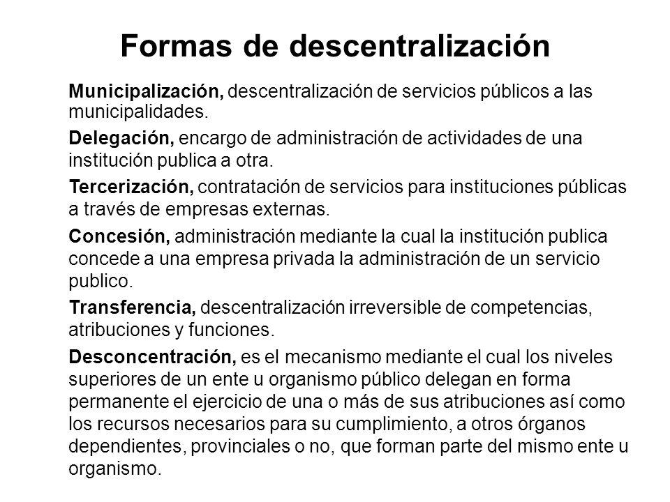 Formas de descentralización Municipalización, descentralización de servicios públicos a las municipalidades. Delegación, encargo de administración de