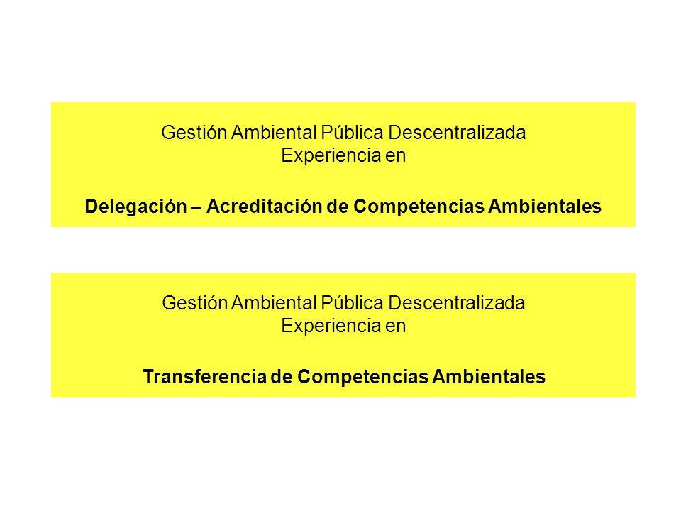 Gestión Ambiental Pública Descentralizada Experiencia en Delegación – Acreditación de Competencias Ambientales Gestión Ambiental Pública Descentraliza