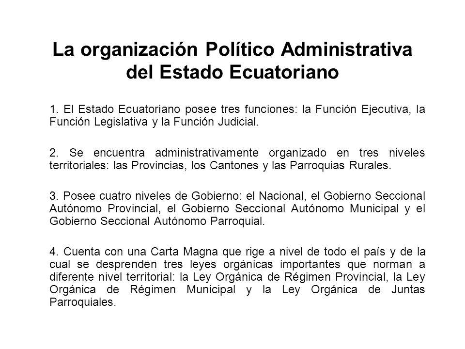 La organización Político Administrativa del Estado Ecuatoriano 1. El Estado Ecuatoriano posee tres funciones: la Función Ejecutiva, la Función Legisla