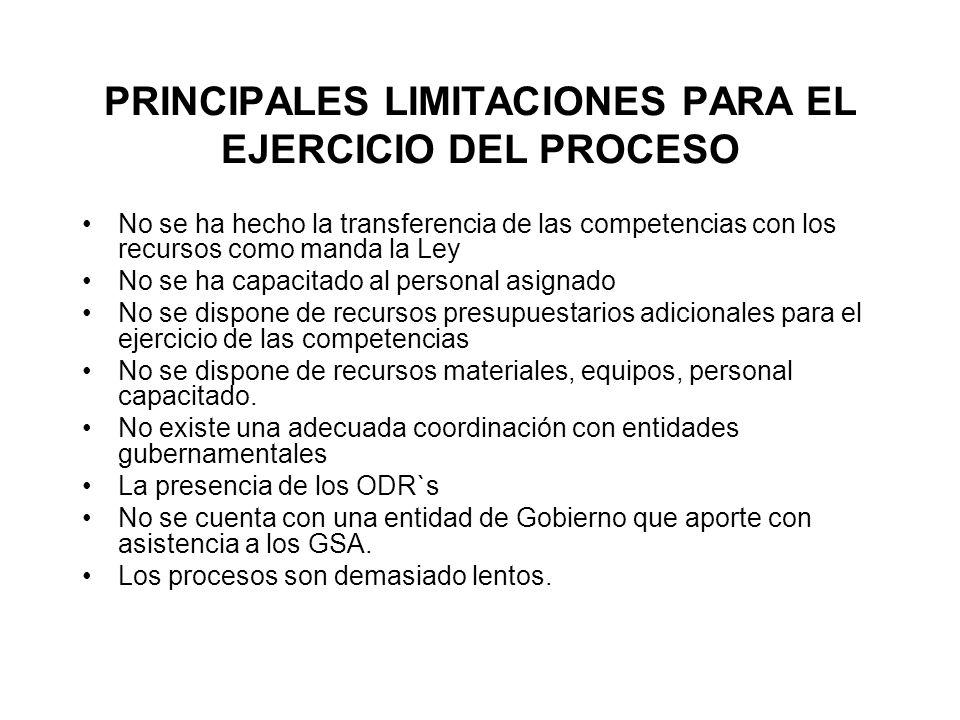 PRINCIPALES LIMITACIONES PARA EL EJERCICIO DEL PROCESO No se ha hecho la transferencia de las competencias con los recursos como manda la Ley No se ha