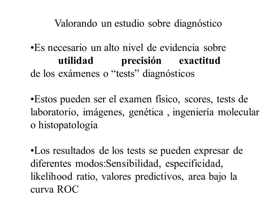 Valorando un estudio sobre diagnóstico Importancia Probablidad Previa o Pretest (Experiencia, Literatura) 0 1 Test Diagnóstico Probabilidad Posterior o Postest 01